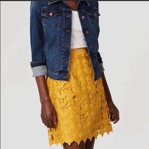 Loft Ann Taylor Yellow Floral Skirt Sz 6